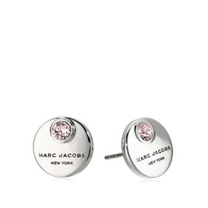Marc Jacobs Coin Stud Crystal Silver Tone Earrings